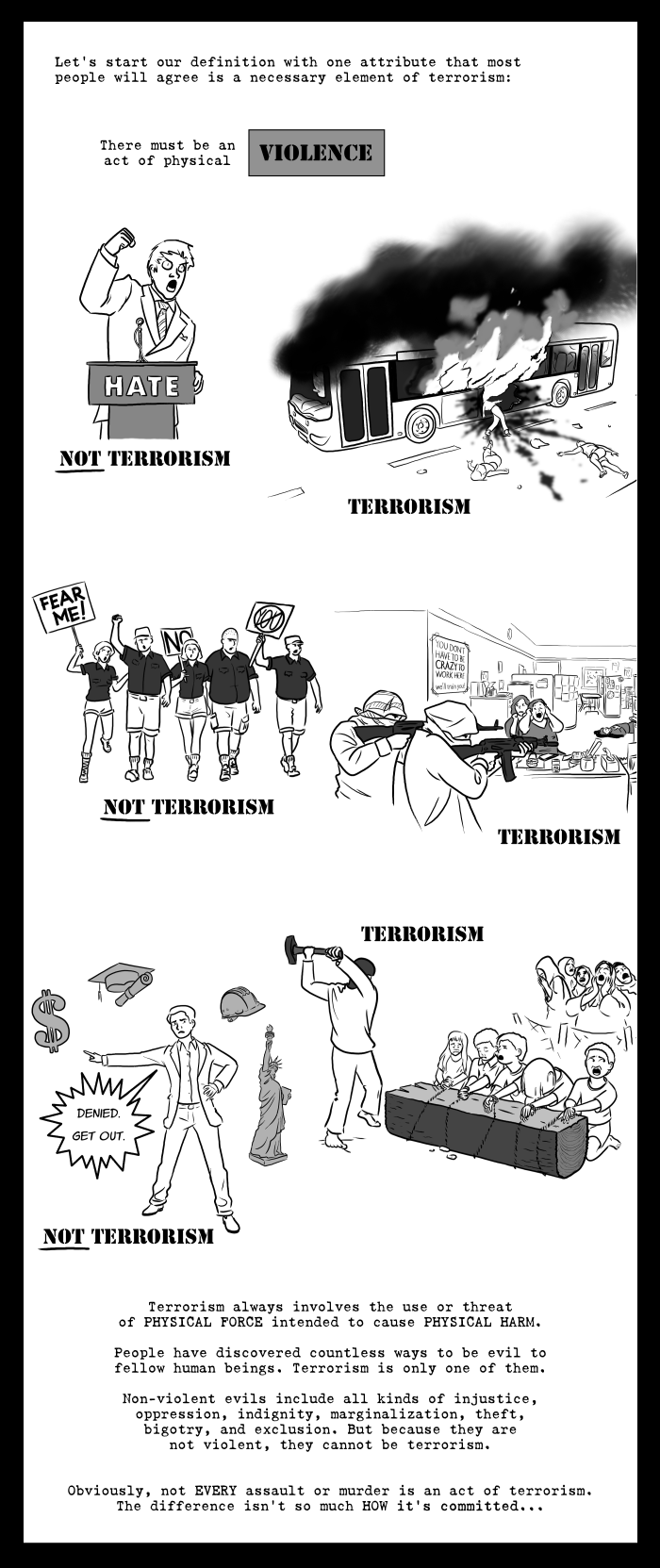 Most people will agree that physical violence is a necessary element of terrorism.